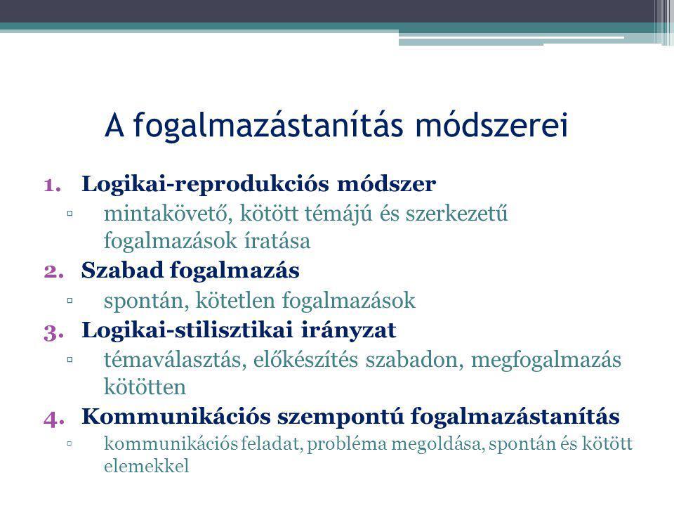 1.Logikai-reprodukciós módszer ▫mintakövető, kötött témájú és szerkezetű fogalmazások íratása 2.Szabad fogalmazás ▫spontán, kötetlen fogalmazások 3.Lo