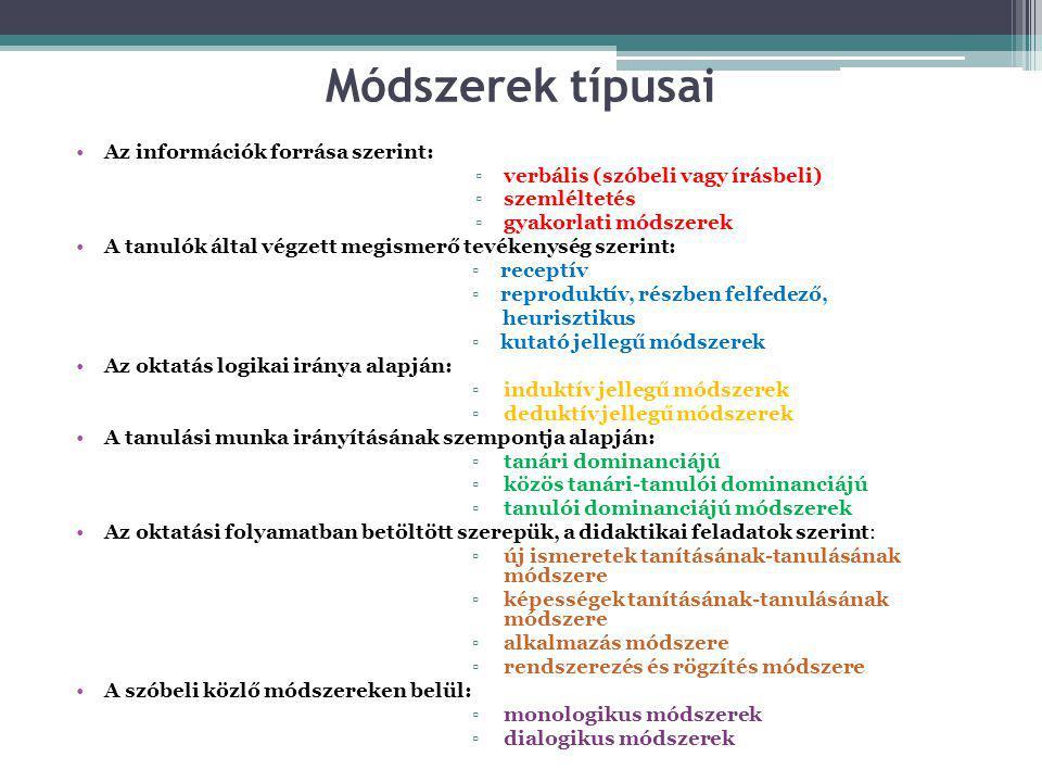 Módszerek típusai •Az információk forrása szerint: ▫verbális (szóbeli vagy írásbeli) ▫szemléltetés ▫gyakorlati módszerek •A tanulók által végzett megi