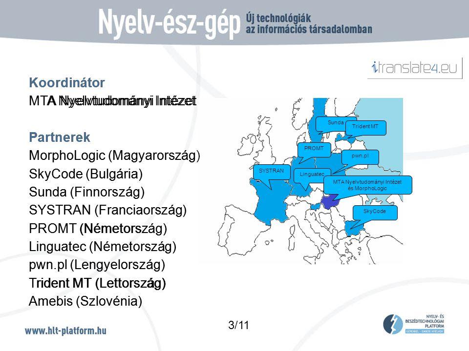 Koordinátor MTA Nyelvtudományi Intézet Partnerek MorphoLogic (Magyarország) SkyCode (Bulgária) Sunda (Finnország) SYSTRAN (Franciaország) PROMT (Németország) Linguatec (Németország) pwn.pl (Lengyelország) Trident MT (Lettország) Amebis (Szlovénia) pwn.pl Sunda SYSTRAN Trident MT SkyCode Linguatec PROMT MTA Nyelvtudományi Intézet és MorphoLogic 3/11 Koordinátor MTA Nyelvtudományi Intézet Partnerek MorphoLogic (Magyarország) SkyCode (Bulgária) Sunda (Finnország) SYSTRAN (Franciaország) PROMT (Németország) Linguatec (Németország) pwn.pl (Lengyelország) Trident MT (Lettország) Amebis (Szlovénia)