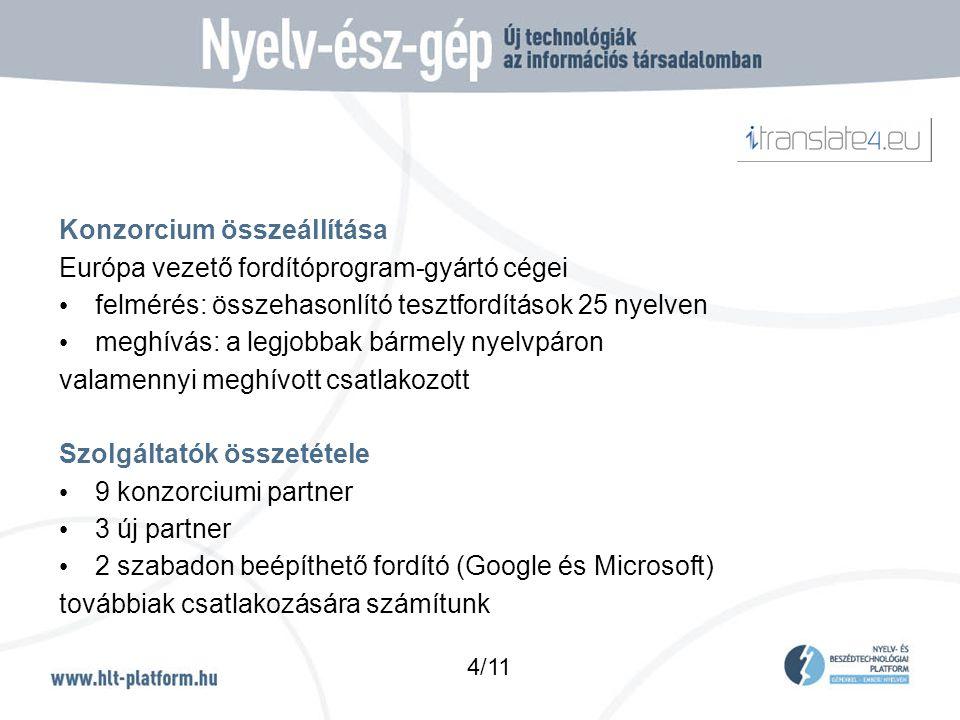 Konzorcium összeállítása Európa vezető fordítóprogram-gyártó cégei • felmérés: összehasonlító tesztfordítások 25 nyelven • meghívás: a legjobbak bármely nyelvpáron valamennyi meghívott csatlakozott Szolgáltatók összetétele • 9 konzorciumi partner • 3 új partner • 2 szabadon beépíthető fordító (Google és Microsoft) továbbiak csatlakozására számítunk 4/11