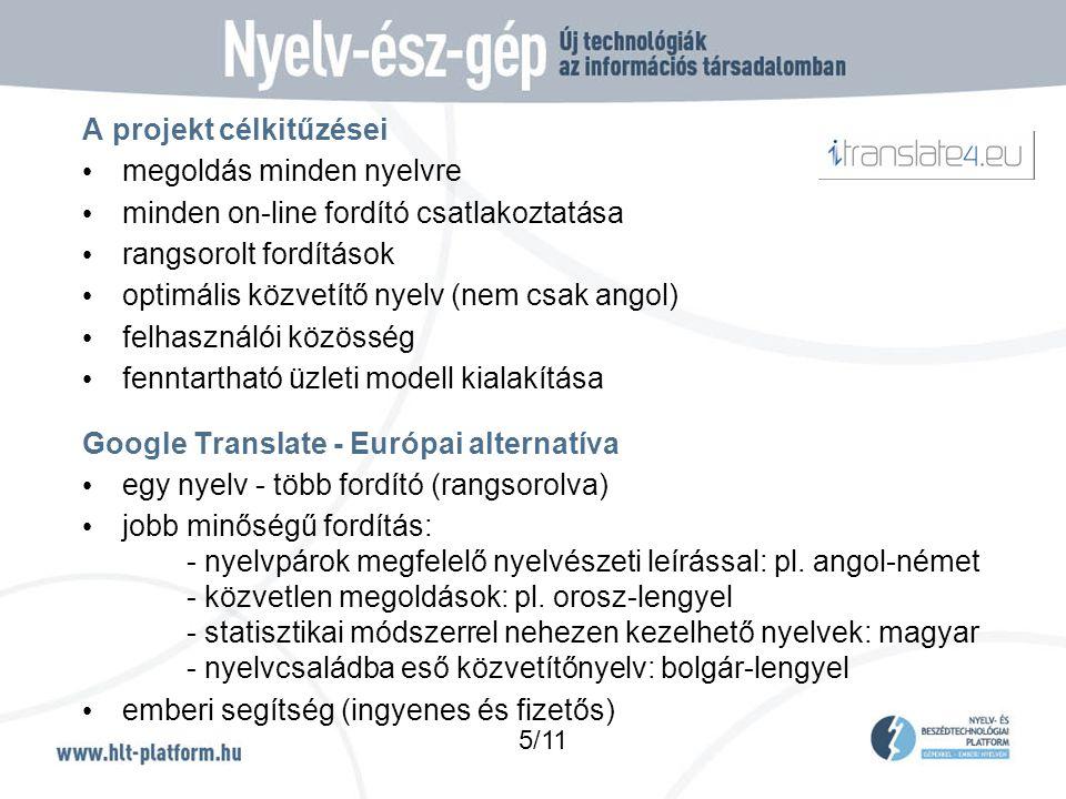 A projekt célkitűzései • megoldás minden nyelvre • minden on-line fordító csatlakoztatása • rangsorolt fordítások • optimális közvetítő nyelv (nem csak angol) • felhasználói közösség • fenntartható üzleti modell kialakítása Google Translate - Európai alternatíva • egy nyelv - több fordító (rangsorolva) • jobb minőségű fordítás: - nyelvpárok megfelelő nyelvészeti leírással: pl.
