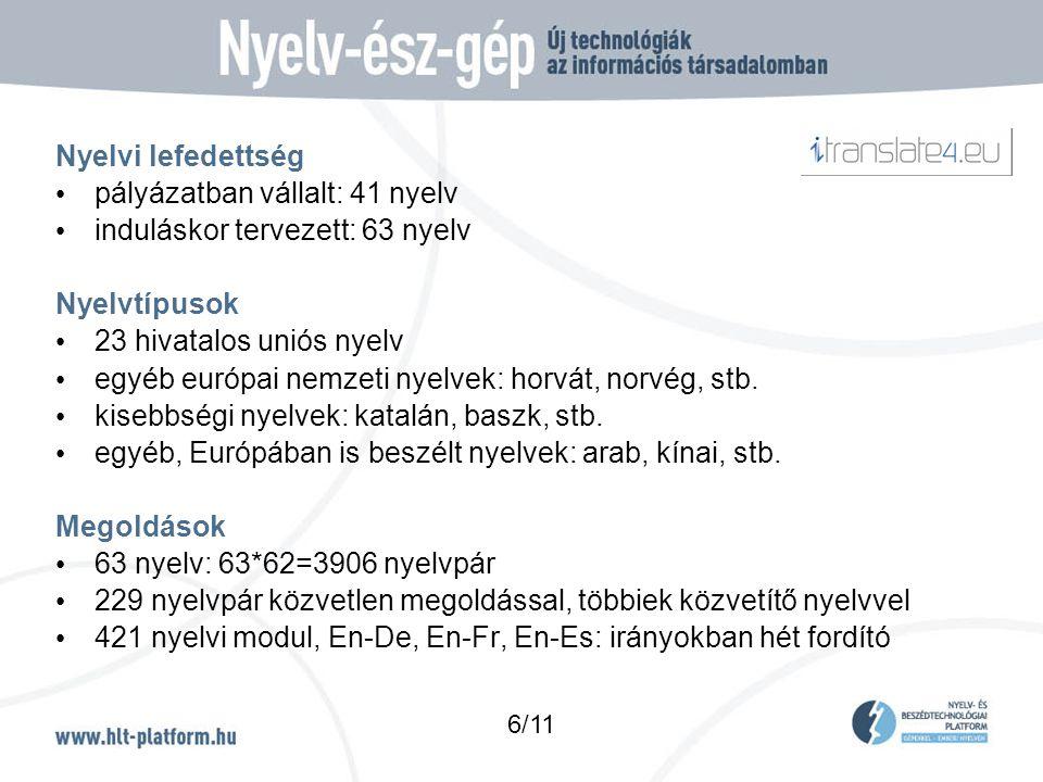 Nyelvi lefedettség • pályázatban vállalt: 41 nyelv • induláskor tervezett: 63 nyelv Nyelvtípusok • 23 hivatalos uniós nyelv • egyéb európai nemzeti nyelvek: horvát, norvég, stb.