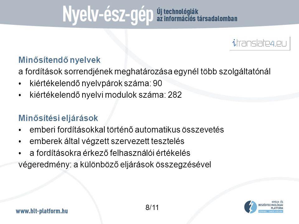 Minősítendő nyelvek a fordítások sorrendjének meghatározása egynél több szolgáltatónál • kiértékelendő nyelvpárok száma: 90 • kiértékelendő nyelvi modulok száma: 282 Minősítési eljárások • emberi fordításokkal történő automatikus összevetés • emberek által végzett szervezett tesztelés • a fordításokra érkező felhasználói értékelés végeredmény: a különböző eljárások összegzésével 8/11