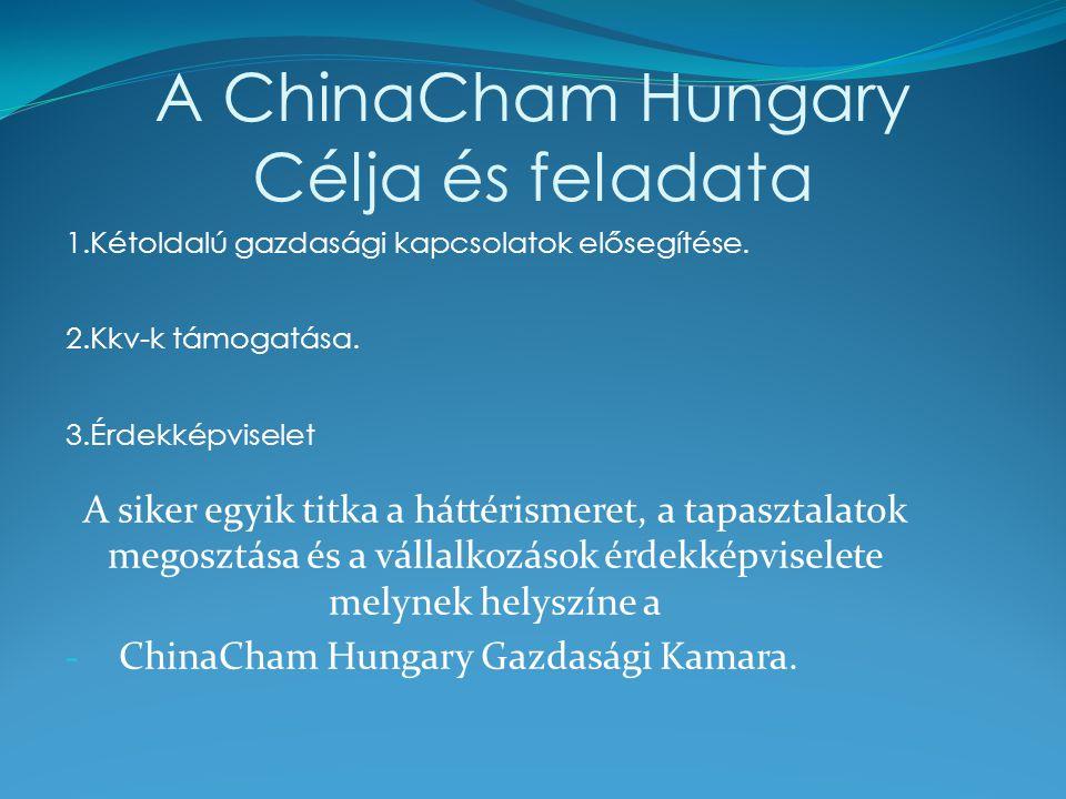 A ChinaCham Hungary Célja és feladata 1.Kétoldalú gazdasági kapcsolatok elősegítése. 2.Kkv-k támogatása. 3.Érdekképviselet A siker egyik titka a hátté