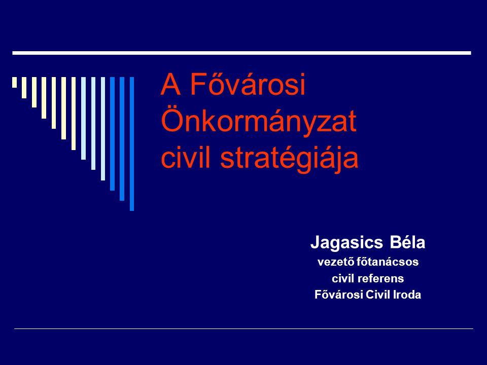 A Fővárosi Önkormányzat civil stratégiája Jagasics Béla vezető főtanácsos civil referens Fővárosi Civil Iroda