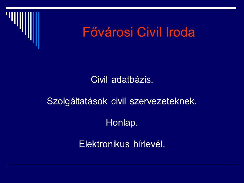 Fővárosi Civil Iroda Civil adatbázis. Szolgáltatások civil szervezeteknek. Honlap. Elektronikus hírlevél.