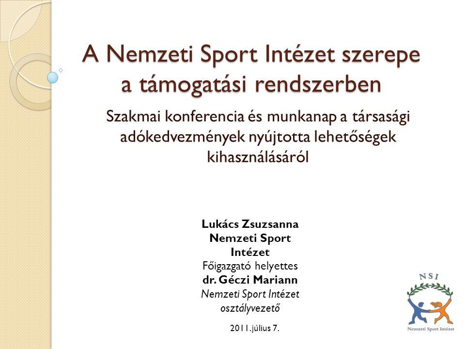 A Nemzeti Sport Intézet szerepe a támogatási rendszerben Szakmai konferencia és munkanap a társasági adókedvezmények nyújtotta lehetőségek kihasználásáról 2011.