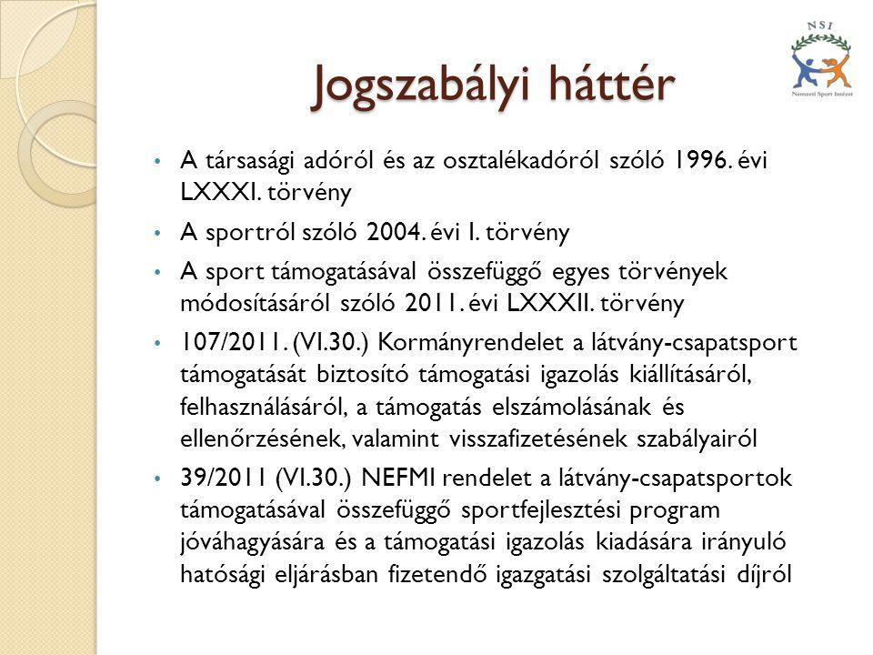 Jogszabályi háttér • A társasági adóról és az osztalékadóról szóló 1996. évi LXXXI. törvény • A sportról szóló 2004. évi I. törvény • A sport támogatá