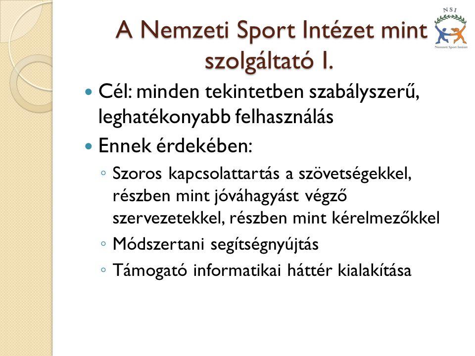 A Nemzeti Sport Intézet mint szolgáltató I.A Nemzeti Sport Intézet mint szolgáltató I.