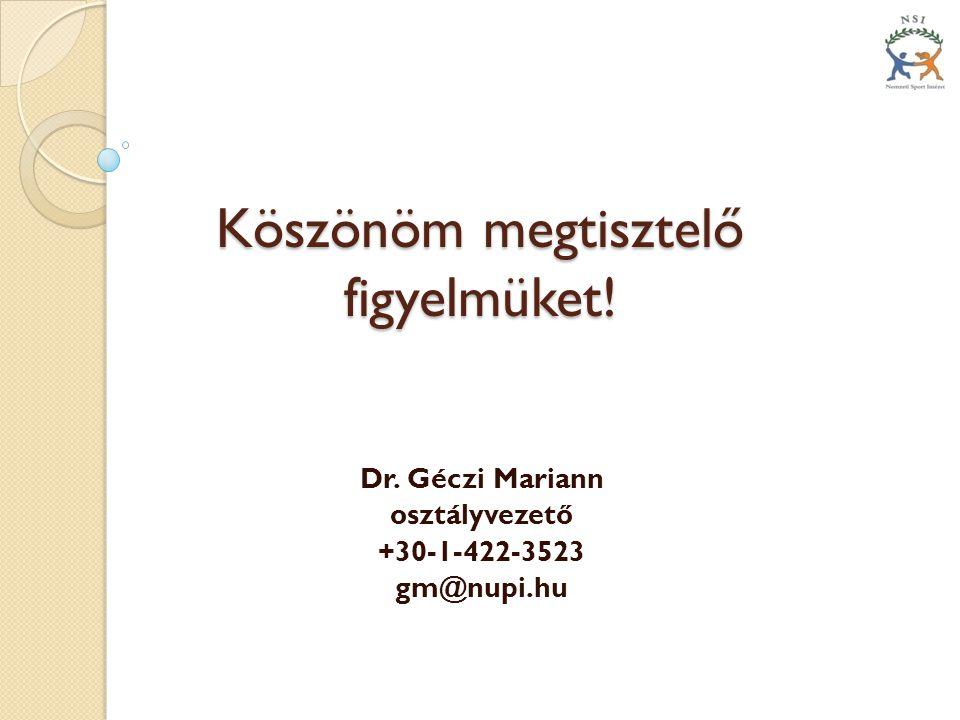Köszönöm megtisztelő figyelmüket! Dr. Géczi Mariann osztályvezető +30-1-422-3523 gm@nupi.hu