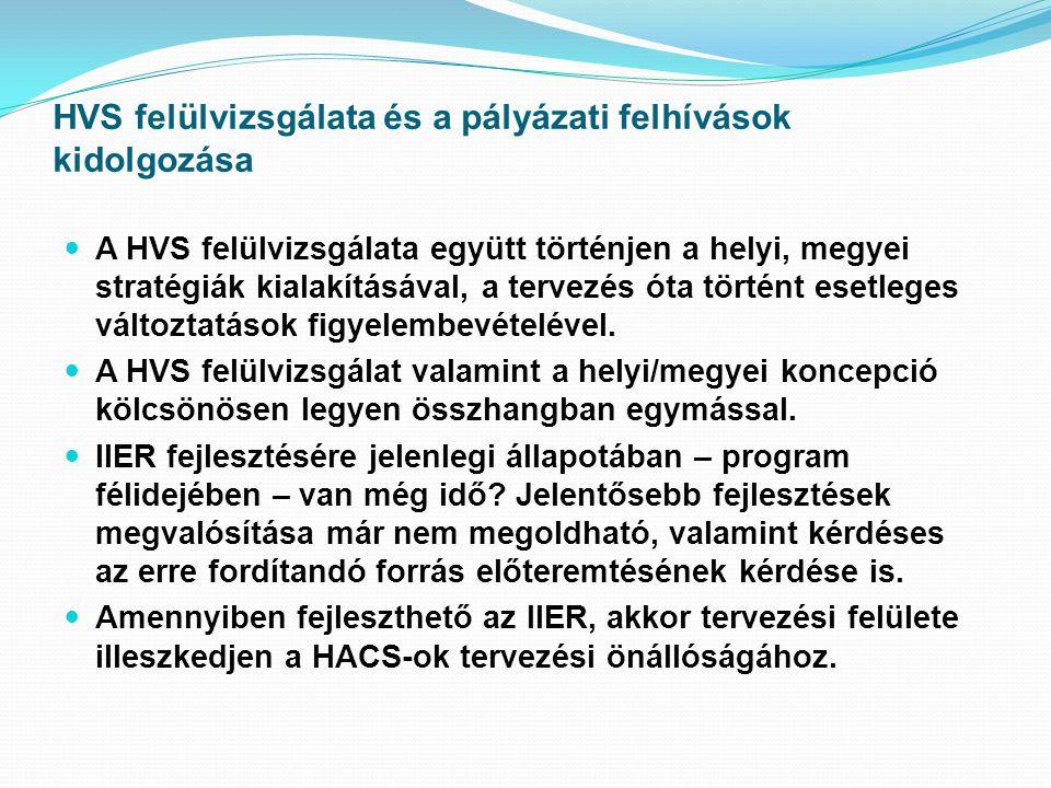 HVS felülvizsgálata és a pályázati felhívások kidolgozása  A HVS felülvizsgálata együtt történjen a helyi, megyei stratégiák kialakításával, a tervezés óta történt esetleges változtatások figyelembevételével.