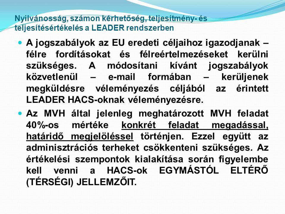 Nyilvánosság, számon kérhetőség, teljesítmény- és teljesítésértékelés a LEADER rendszerben  A jogszabályok az EU eredeti céljaihoz igazodjanak – félre fordításokat és félreértelmezéseket kerülni szükséges.