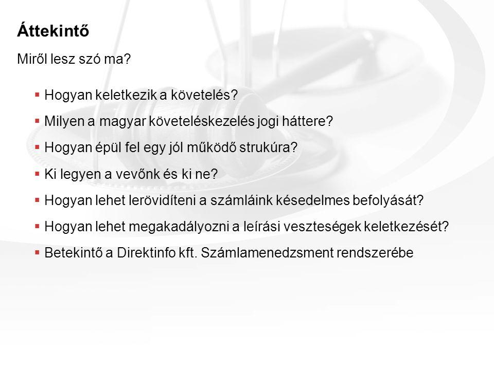 Áttekintő  Hogyan keletkezik a követelés?  Milyen a magyar követeléskezelés jogi háttere?  Hogyan épül fel egy jól működő strukúra?  Ki legyen a v