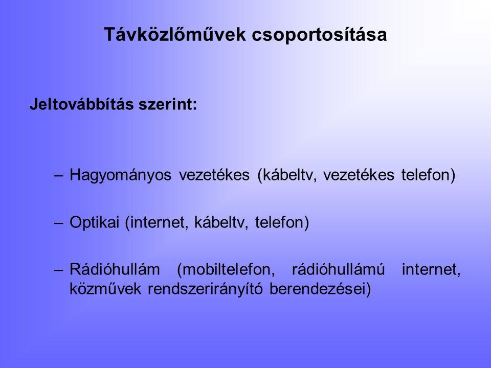 Távközlőművek csoportosítása Funkció szerint: –Telefon (hagyományos, optikai) –Forgalomirányító (jelzőlámpák, vasúti) –Kábeltelevízió (hagyományos, optikai) –Internet (hagyományos, optikai) –Katonai hírközlő –Egyéb vezetékes (pl.: Vízhálózatok rendszerirányító vezetékei, vállalatok információs, rendszer irányító- vezetékei)