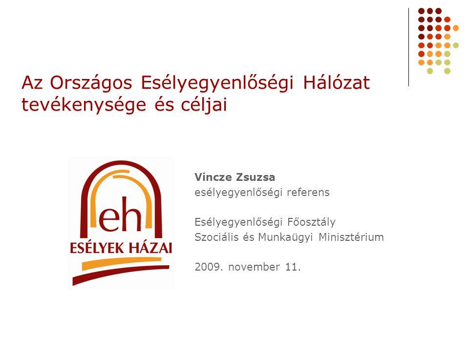 Az Országos Esélyegyenlőségi Hálózat tevékenysége és céljai Vincze Zsuzsa esélyegyenlőségi referens Esélyegyenlőségi Főosztály Szociális és Munkaügyi Minisztérium 2009.