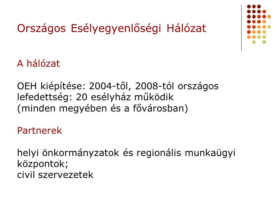 Országos Esélyegyenlőségi Hálózat A hálózat OEH kiépítése: 2004-től, 2008-tól országos lefedettség: 20 esélyház működik (minden megyében és a fővárosban) Partnerek helyi önkormányzatok és regionális munkaügyi központok; civil szervezetek