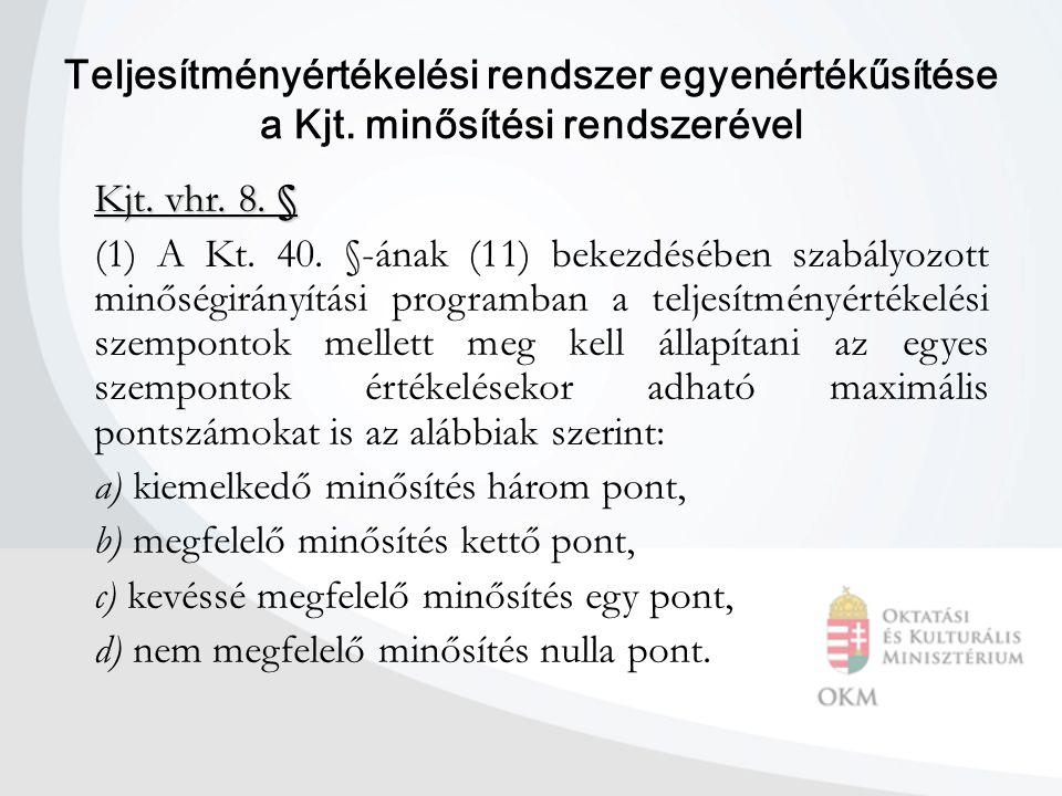 Teljesítményértékelési rendszer egyenértékűsítése a Kjt. minősítési rendszerével Kjt. vhr. 8. § (1) A Kt. 40. §-ának (11) bekezdésében szabályozott mi
