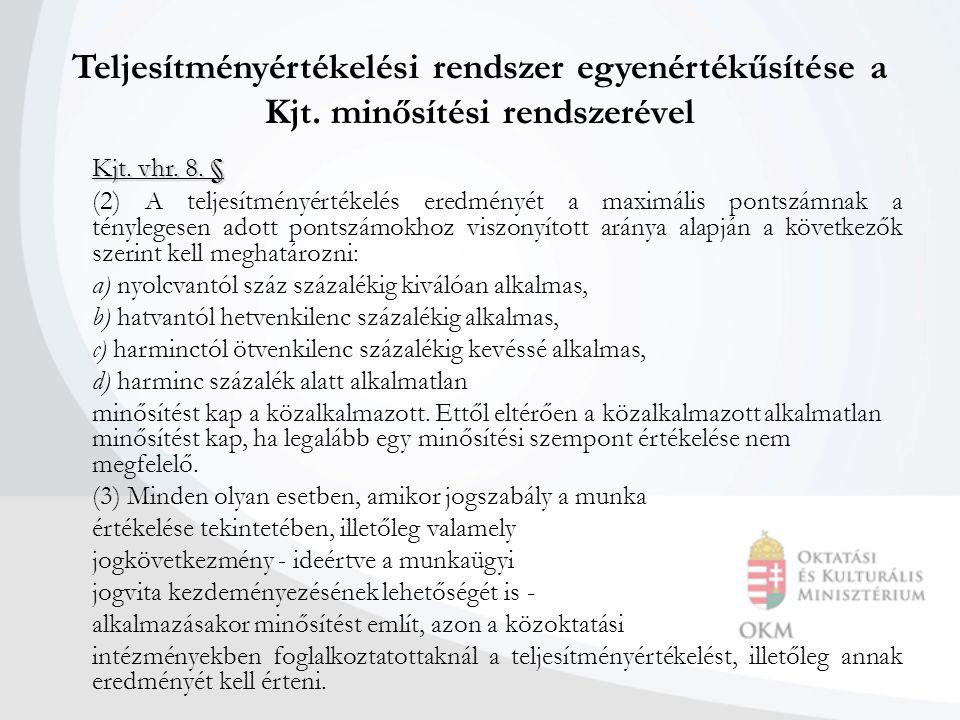 Teljesítményértékelési rendszer egyenértékűsítése a Kjt. minősítési rendszerével Kjt. vhr. 8. § (2) A teljesítményértékelés eredményét a maximális pon