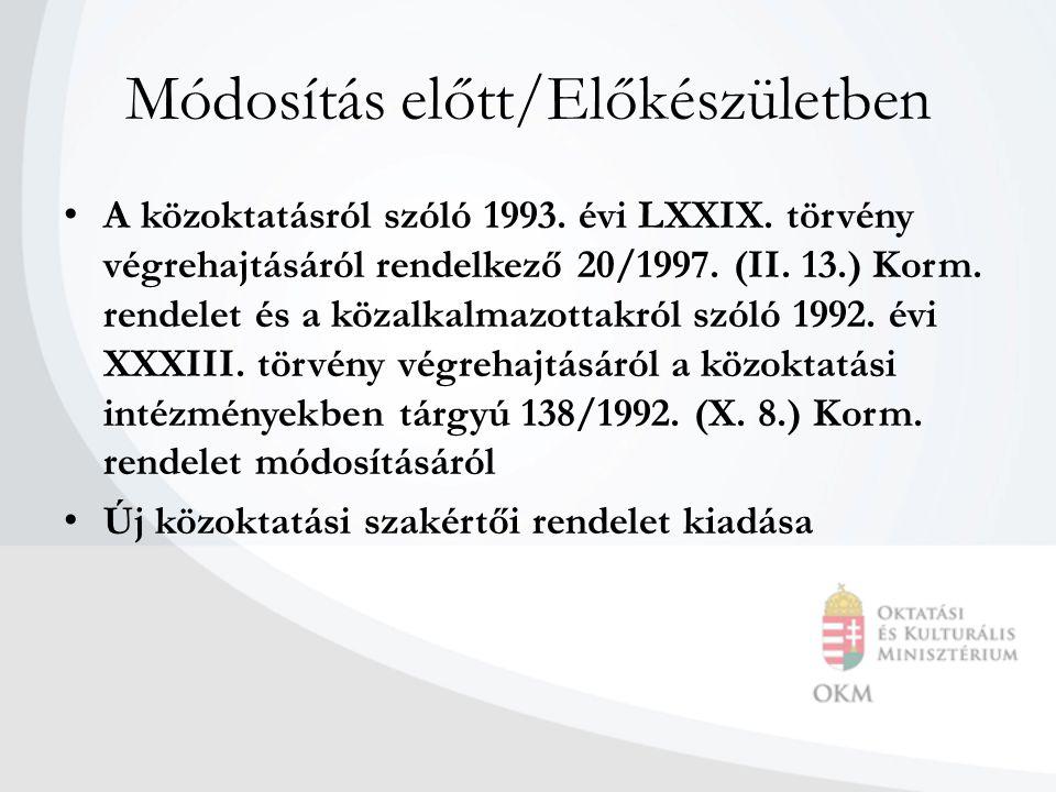 Módosítás előtt/Előkészületben • A közoktatásról szóló 1993. évi LXXIX. törvény végrehajtásáról rendelkező 20/1997. (II. 13.) Korm. rendelet és a köza