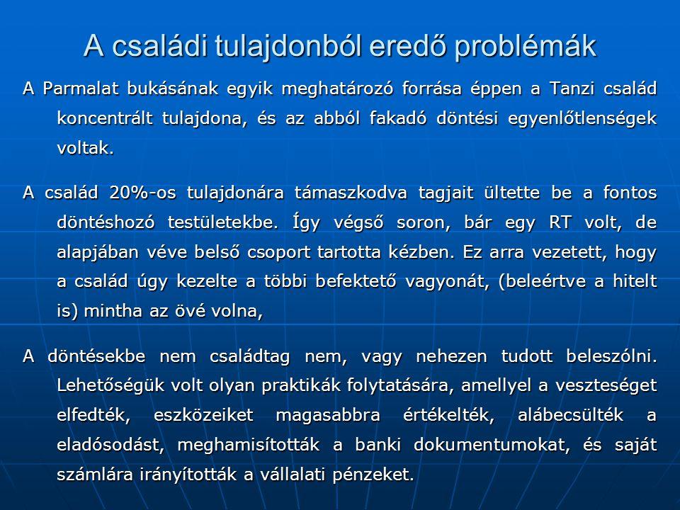 A családi tulajdonból eredő problémák A Parmalat bukásának egyik meghatározó forrása éppen a Tanzi család koncentrált tulajdona, és az abból fakadó dö