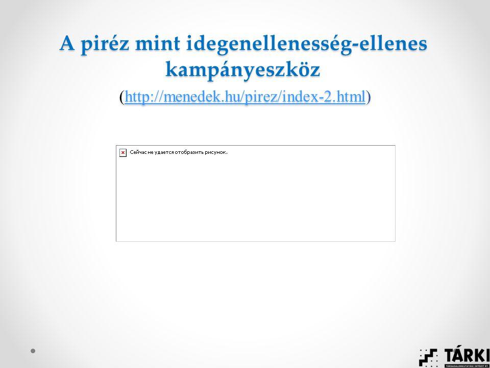 A piréz mint idegenellenesség-ellenes kampányeszköz (http://menedek.hu/pirez/index-2.html) http://menedek.hu/pirez/index-2.html