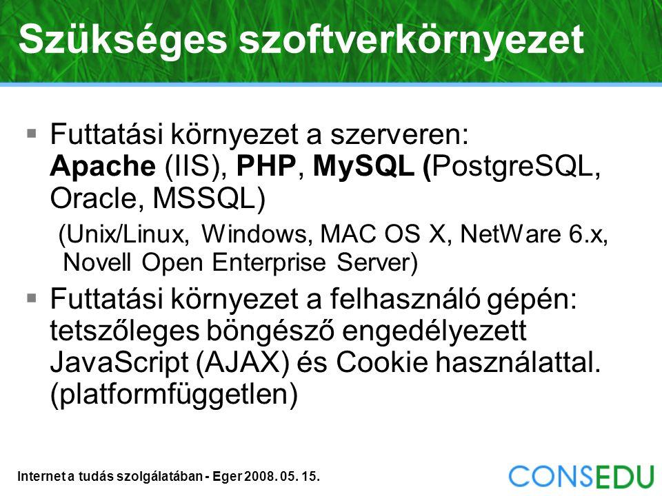 Internet a tudás szolgálatában - Eger 2008. 05. 15. Beépített szövegszerkesztő