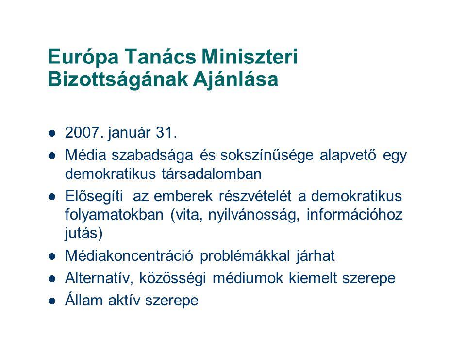 Európa Tanács Miniszteri Bizottságának Ajánlása  2007. január 31.  Média szabadsága és sokszínűsége alapvető egy demokratikus társadalomban  Előseg
