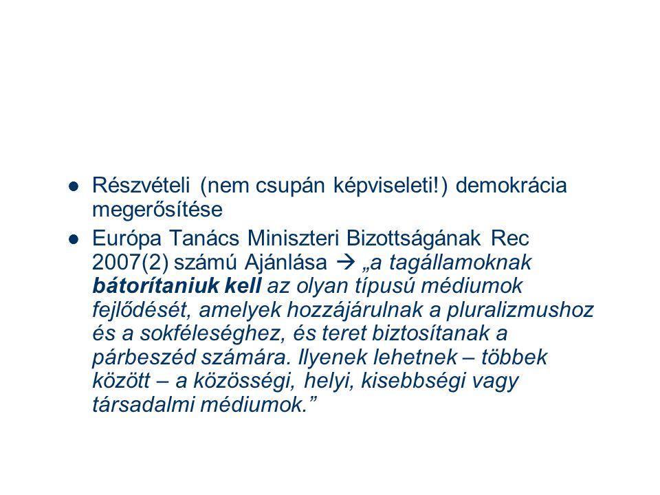 """ Részvételi (nem csupán képviseleti!) demokrácia megerősítése  Európa Tanács Miniszteri Bizottságának Rec 2007(2) számú Ajánlása  """"a tagállamoknak bátorítaniuk kell az olyan típusú médiumok fejlődését, amelyek hozzájárulnak a pluralizmushoz és a sokféleséghez, és teret biztosítanak a párbeszéd számára."""