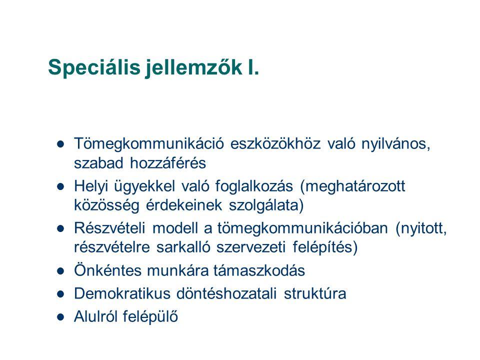 Speciális jellemzők I.  Tömegkommunikáció eszközökhöz való nyilvános, szabad hozzáférés  Helyi ügyekkel való foglalkozás (meghatározott közösség érd