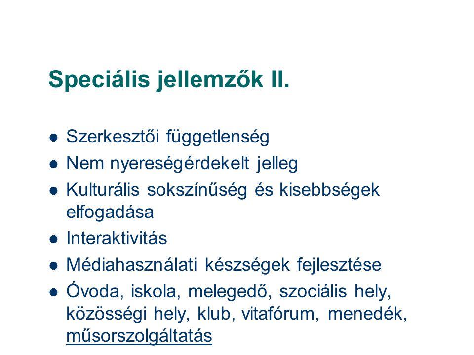 Speciális jellemzők II.