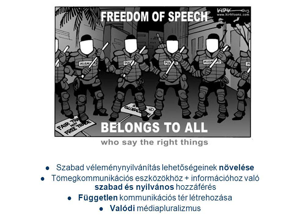  Szabad véleménynyilvánítás lehetőségeinek növelése  Tömegkommunikációs eszközökhöz + információhoz való szabad és nyilvános hozzáférés  Független kommunikációs tér létrehozása  Valódi médiapluralizmus