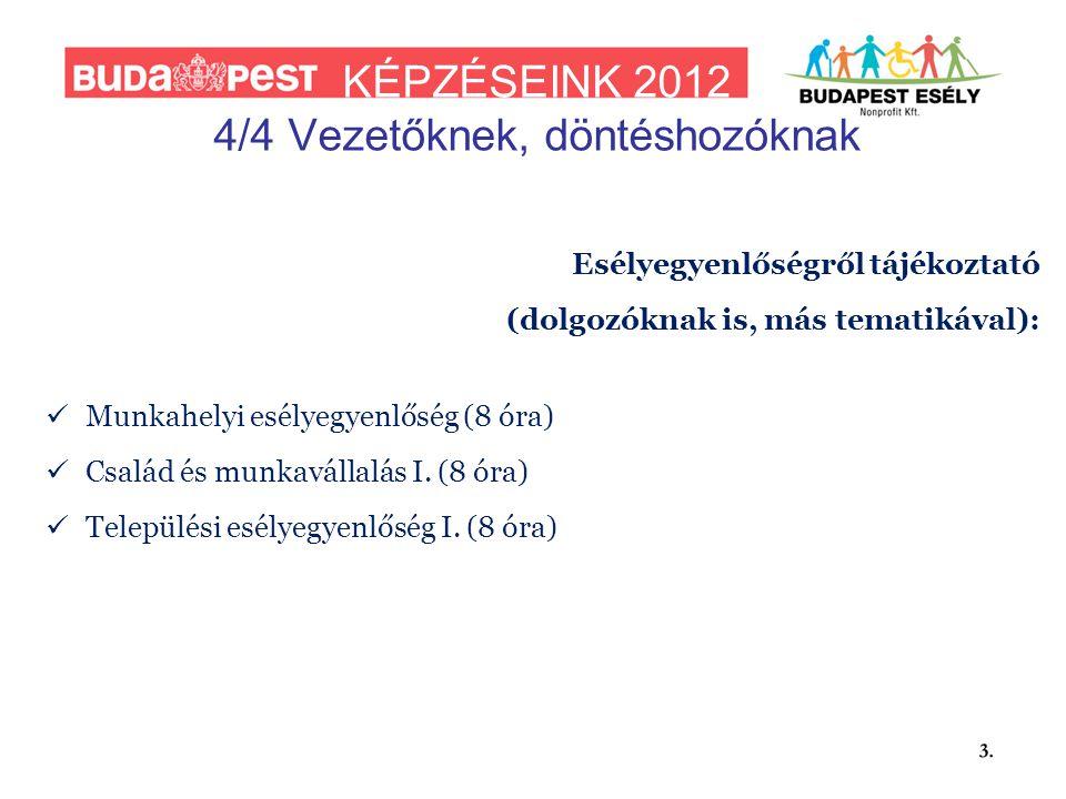 KÉPZÉSEINK 2012 4/4 Vezetőknek, döntéshozóknak Esélyegyenlőségről tájékoztató (dolgozóknak is, más tematikával):  Munkahelyi esélyegyenlőség (8 óra)  Család és munkavállalás I.