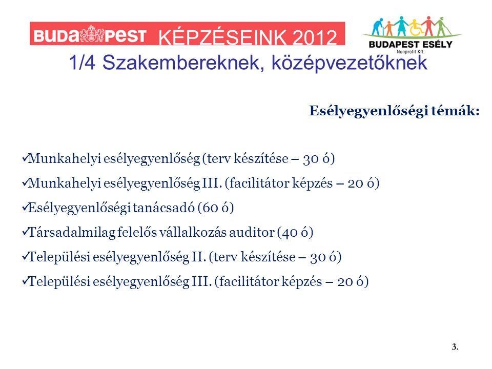 KÉPZÉSEINK 2012 1/4 Szakembereknek, középvezetőknek Esélyegyenlőségi témák:  Munkahelyi esélyegyenlőség (terv készítése – 30 ó)  Munkahelyi esélyegyenlőség III.