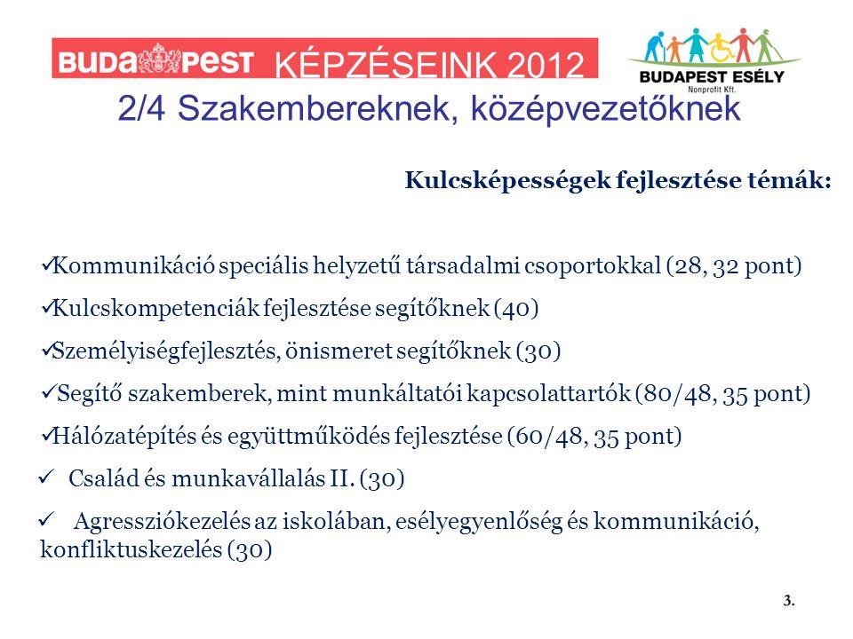 KÉPZÉSEINK 2012 2/4 Szakembereknek, középvezetőknek Kulcsképességek fejlesztése témák:  Kommunikáció speciális helyzetű társadalmi csoportokkal (28, 32 pont)  Kulcskompetenciák fejlesztése segítőknek (40)  Személyiségfejlesztés, önismeret segítőknek (30)  Segítő szakemberek, mint munkáltatói kapcsolattartók (80/48, 35 pont)  Hálózatépítés és együttműködés fejlesztése (60/48, 35 pont)  Család és munkavállalás II.