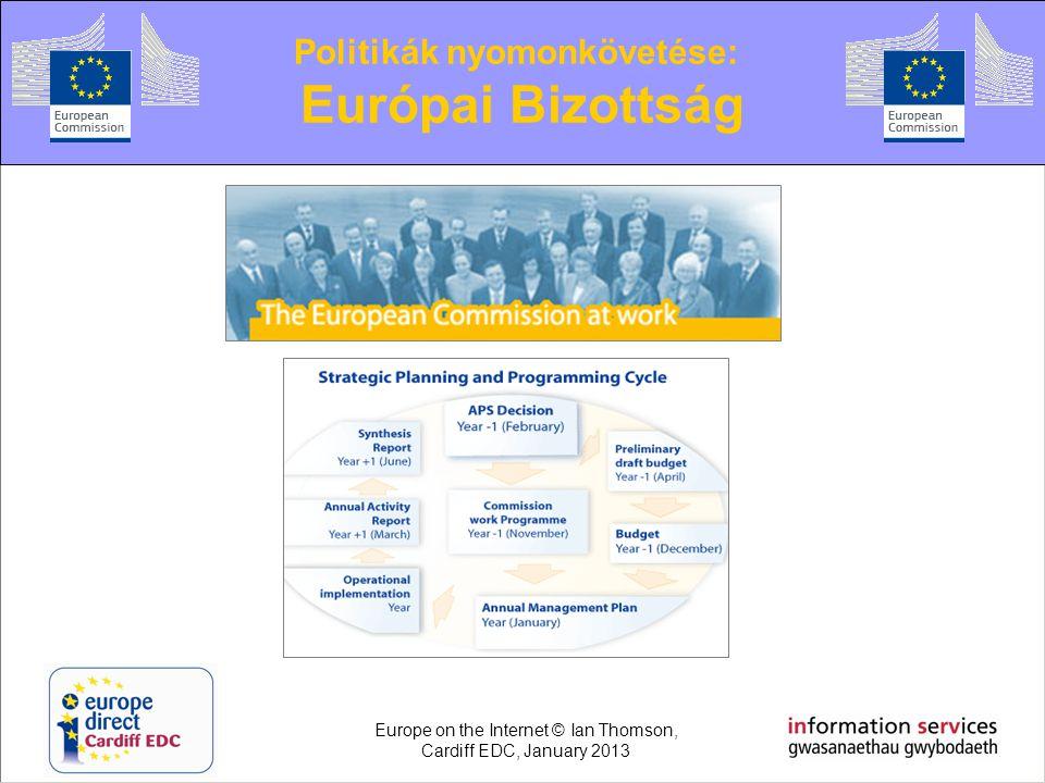 Politikák nyomonkövetése: Európai Bizottság Europe on the Internet © Ian Thomson, Cardiff EDC, January 2013