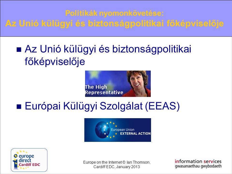  Az Unió külügyi és biztonságpolitikai főképviselője  Európai Külügyi Szolgálat (EEAS) Politikák nyomonkövetése: Az Unió külügyi és biztonságpolitik