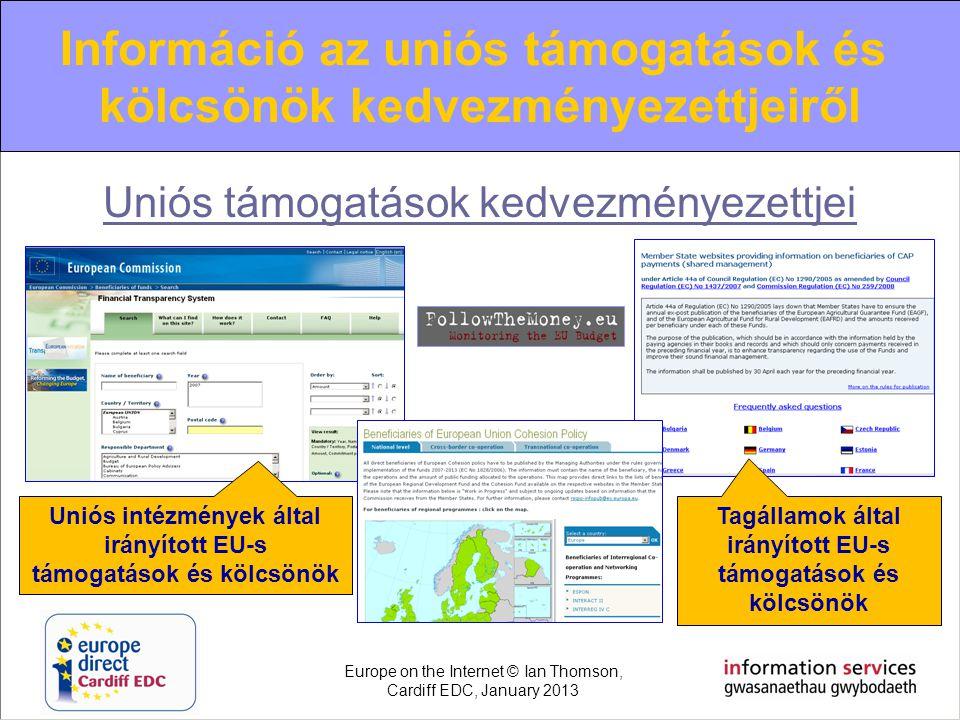 Uniós támogatások kedvezményezettjei Uniós intézmények által irányított EU-s támogatások és kölcsönök Tagállamok által irányított EU-s támogatások és