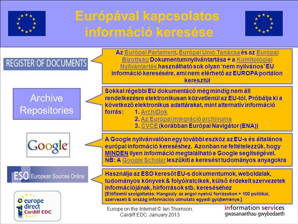 Searching for European information Európával kapcsolatos információ keresése Az Európai Parlament, Európai Unió Tanácsa és az Európai Bizottság Dokume