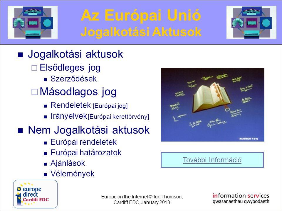  Jogalkotási aktusok  Elsődleges jog  Szerződések  Másodlagos jog  Rendeletek [Európai jog]  Irányelvek [Európai kerettörvény]  Nem Jogalkotási