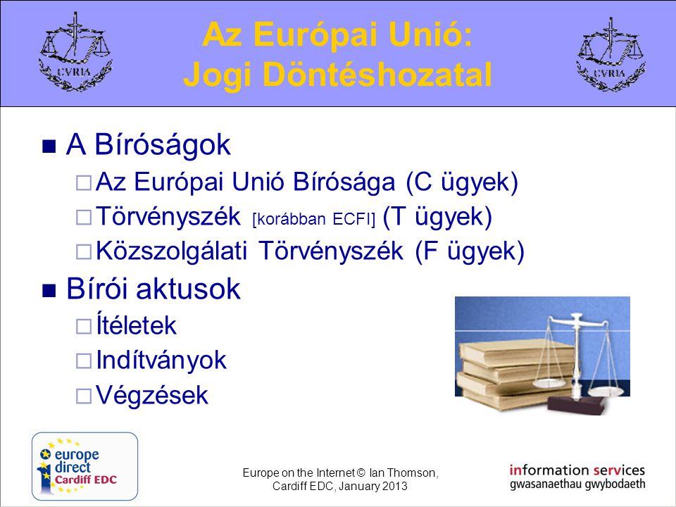  A Bíróságok  Az Európai Unió Bírósága (C ügyek)  Törvényszék [korábban ECFI] (T ügyek)  Közszolgálati Törvényszék (F ügyek)  Bírói aktusok  Íté