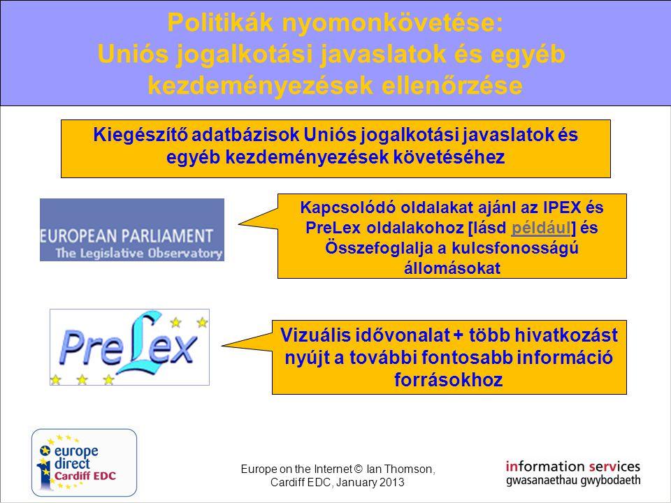 Kapcsolódó oldalakat ajánl az IPEX és PreLex oldalakohoz [lásd például] és Összefoglalja a kulcsfonosságú állomásokatpéldául Vizuális idővonalat + töb
