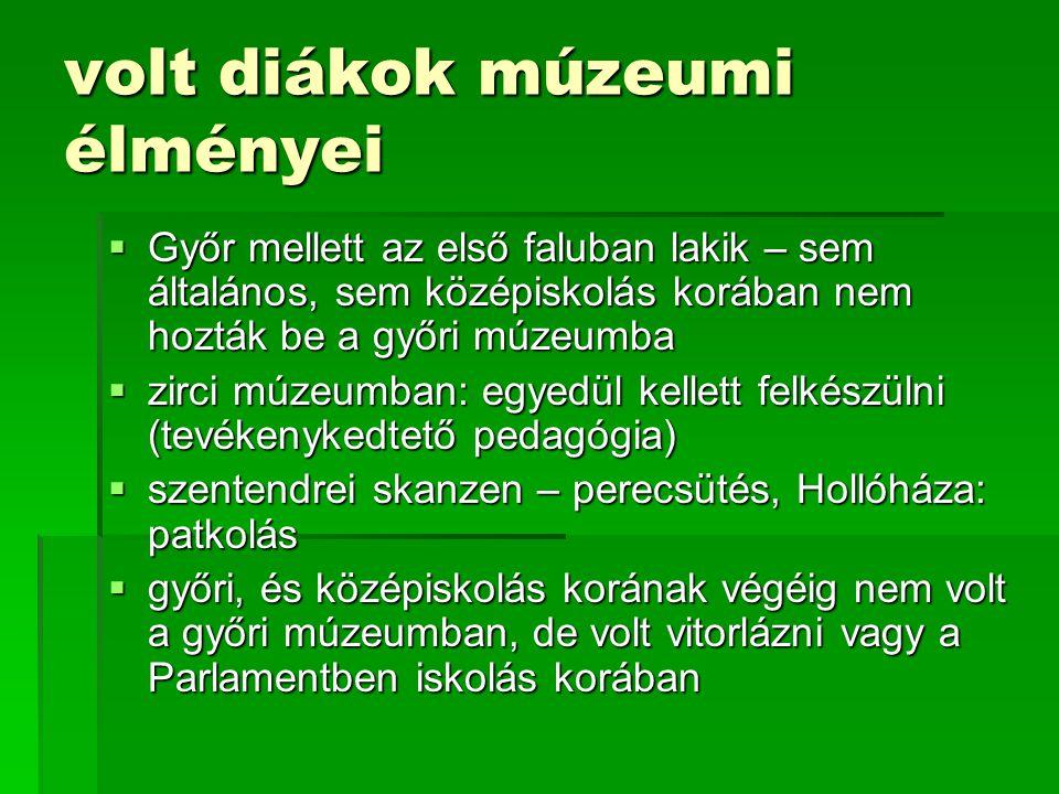 volt diákok múzeumi élményei  Győr mellett az első faluban lakik – sem általános, sem középiskolás korában nem hozták be a győri múzeumba  zirci múz