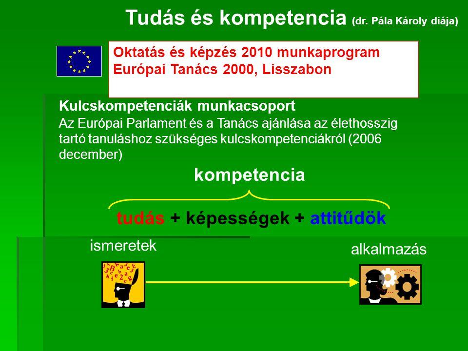 Oktatás és képzés 2010 munkaprogram Európai Tanács 2000, Lisszabon Tudás és kompetencia (dr. Pála Károly diája) Kulcskompetenciák munkacsoport Az Euró