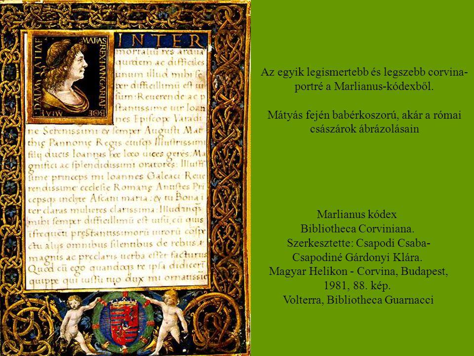 Az egyik legismertebb és legszebb corvina- portré a Marlianus-kódexből. Mátyás fején babérkoszorú, akár a római császárok ábrázolásain Marlianus kódex