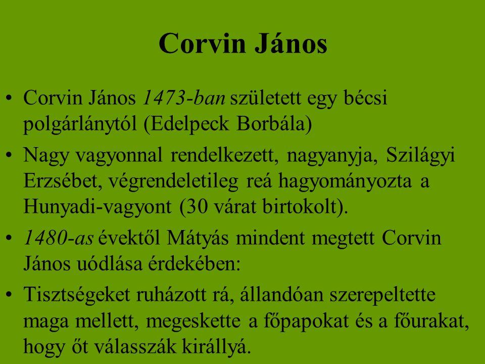 Corvin János •Corvin János 1473-ban született egy bécsi polgárlánytól (Edelpeck Borbála) •Nagy vagyonnal rendelkezett, nagyanyja, Szilágyi Erzsébet, v