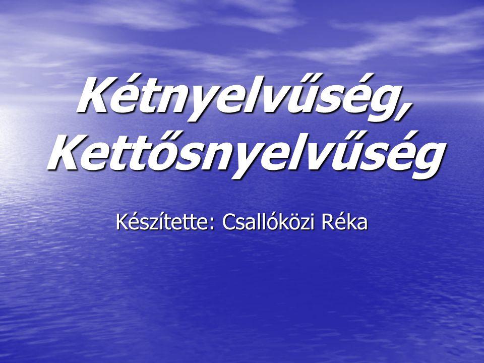 Kétnyelvűség, Kettősnyelvűség Készítette: Csallóközi Réka