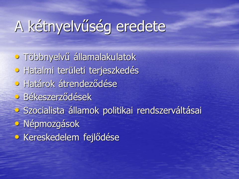 A kétnyelvűség eredete • Többnyelvű államalakulatok • Hatalmi területi terjeszkedés • Határok átrendeződése • Békeszerződések • Szocialista államok po