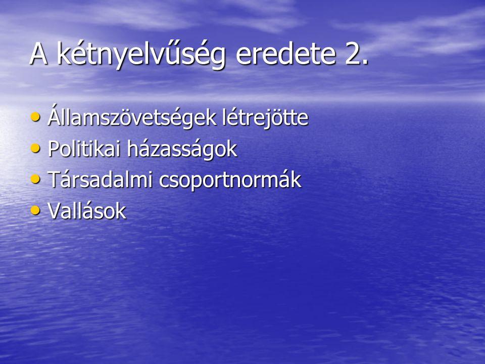A kétnyelvűség eredete 2. • Államszövetségek létrejötte • Politikai házasságok • Társadalmi csoportnormák • Vallások