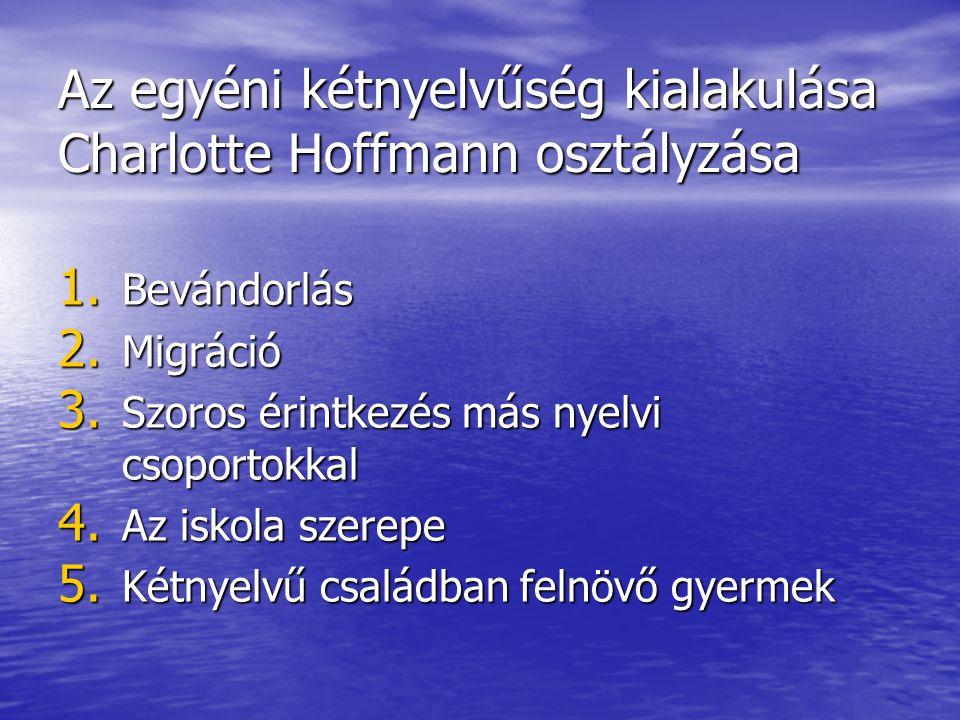 Az egyéni kétnyelvűség kialakulása Charlotte Hoffmann osztályzása 1. Bevándorlás 2. Migráció 3. Szoros érintkezés más nyelvi csoportokkal 4. Az iskola