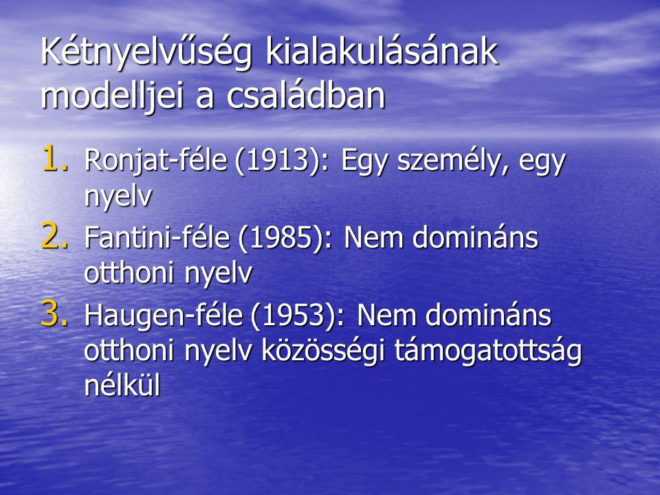 Kétnyelvűség kialakulásának modelljei a családban 1. Ronjat-féle (1913): Egy személy, egy nyelv 2. Fantini-féle (1985): Nem domináns otthoni nyelv 3.